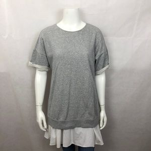 Theory Gray Layered Tunic Top Short Sleeve 6